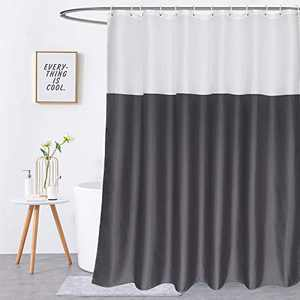 """Beneyhome 72 Inch Shower Curtain Gray and White Fabric Shower Curtain Liner for Bathroom 72""""Wx72"""" H, Water Repellent Color Block Farmhouse Shower Curtains with Hooks, Hotel Quality & Machine Washable"""