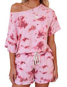 Corfrute Womens Pajama Sets Short Sleeve Tops and Shorts Tie Dye Printed Sleepwear Loungewear Nightwear(Pink ,XL)