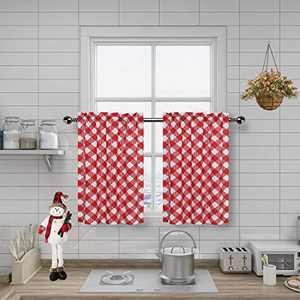 "Amzdecor Buffalo Check Plaid Café Kitchen Window Curtain Tiers Check Pattern with Buffalo Gingham Squares Rhombus Lattice, for Bathroom/Kitchen Cafe,27"" x 24"", 2 Panels, Red"