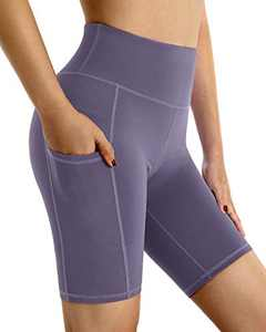 """G4Free High Waist Yoga Shorts with Pockets Breathable Non See-Through Biker Shorts Workout Leggings Pants 8"""" Inseam (Purple Grey, S)"""