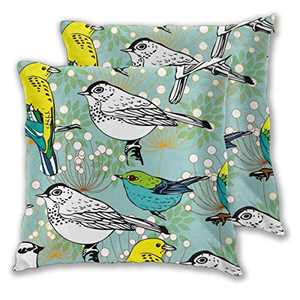 Abucaky Pillowcase Set of 2 Rustic Birds Throw Pillow Covers Shells for Couch Office Bedroom Home Decoration 18 X 18 Inches