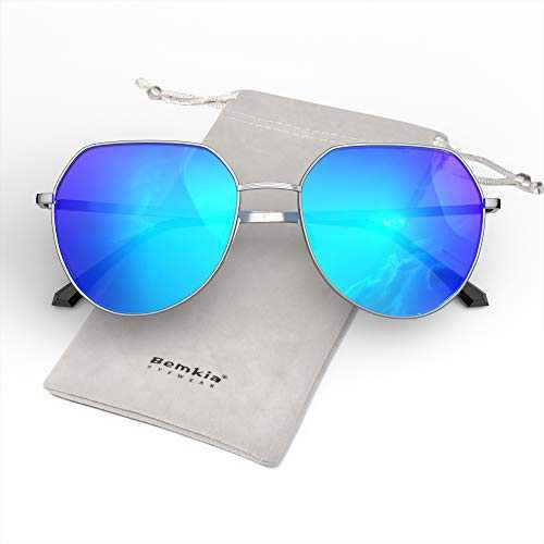 Bemkia Women Sunglasses Square Polarized Metal Frame Polygon Retro Stylish UV400 Protection 58mmm, Mirrored-Blue