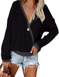 Womens Deep V Neck Long Sleeve Fall Waffle Knit Pullover Sweater Blouse (Black,XL)