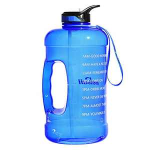 Mersuii 1 Gallon Water Bottle with Time Marker and Straw 128oz BPA Free Leak Proof Motivational Large Water Bottle Jug with Handle and Carrying Strap for Fitness Outdoor Sports Enthusiasts (Blue)