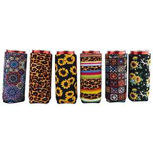 Neoprene Slim Can Cooler,12oz Slim Can Holder,Can Coolie,Soft Tall Foldable Can Cooler,Beer Cooler Bags Fits Slim White Claw,Michelob Ultra,Spiked Seltzer,Truly (Colorful Style A (6Pack))