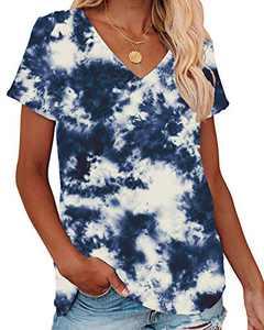 Corfrute Womens Tie Dye Tunic Summer Short Sleeve Tops Casual V Neck Basic Tee Shirts(F-35,L)