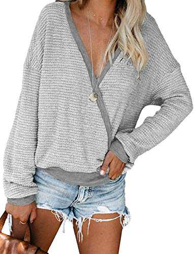 Womens Deep V Neck Long Sleeve Fall Waffle Knit Pullover Sweater Blouse (Light Grey,S)
