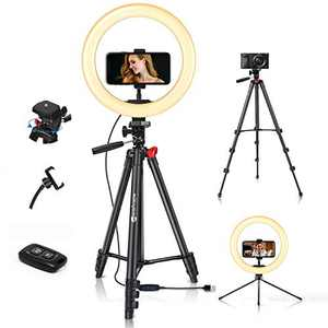 """Yesker 10'' Ring Light with 51"""" Tripod Flexible Stand LED SelfieRingLight 10 Brightnesswith Camera Remote Shutter Phone Holder for Video Live Stream Makeup"""