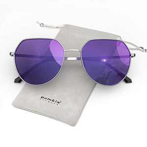 Bemkia Women Sunglasses Square Polarized Metal Frame Polygon Retro Stylish UV400 Protection 58mm, Mirrored-Purple