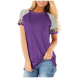 sullcom Women's Short Sleeve Leopard Print Top with Front Tie and Sequin Chest Pocket Casual Blouses Tops T Shirts (Medium, A-Purple)