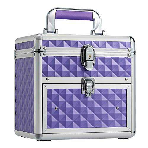 Frenessa Nail Polish Makeup Train Case for Lady with Drawer and Dividers Manicure Kit Organizer Accessory Storage Makeup Box with Mirror Lockable Keys Cosmetic Case Jewelry Box - Purple