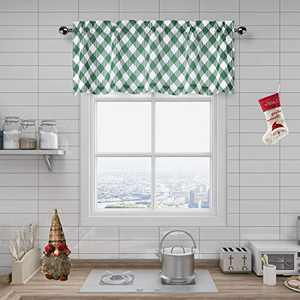 "Amzdecor Café Christmas Kitchen Buffalo Check Plaid Window Curtain Valance Check Pattern with Buffalo Gingham Squares Rhombus Lattice, for Bathroom/Kitchen Cafe, 55"" x 15"" Valance, Green"