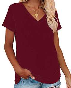 Corfrute Womens Solid Tunic Summer Short Sleeve Tops Casual V Neck Basic Tee Shirts(Wine Red,L)