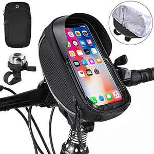kupet Bike Front Frame Bag, Waterproof Touch Screen Bicycle Front Tube Mount Bags with Phone Armband and Bells, Large Capacity Sun Visor Top Tube Bike Bag Compatible with Cellphone Below 6.5in
