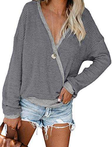 Womens Deep V Neck Long Sleeve Fall Waffle Knit Pullover Sweater Blouse (Dark Grey,M)