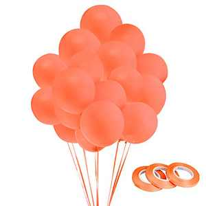 Orange Party Balloons 12 Inch with Matching Color Ribbon for Theme Party Decoration,Baby Shower, Birthday Parties Supplies (Orange)
