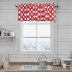 "Amzdecor Holiday Geometric Buffalo Check Plaid Pattern Window Valance Curtain Set for Bathroom Kitchen, Retro Red Plaid Pattern, 55"" x 15"" Valance"