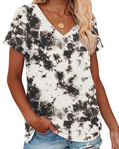 Corfrute Womens Tie Dye Tunic Summer Short Sleeve Tops Casual V Neck Basic Tee Shirts(F-33,2XL)