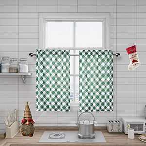 "Amzdecor Buffalo Check Plaid Café Kitchen Window Curtain Tiers Check Pattern with Buffalo Gingham Squares Rhombus Lattice, for Bathroom/Kitchen Cafe,27"" x 36"", 2 Panels, Green"