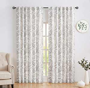 Amzdecor Paisley Linen Curtain Panels Back Tab and Rod Pocket Window Treatment Sets for Living Room Vintage, Floral Pattern Drapes with Extra Length Adjust IronTape,Set of 2 (52''W x 63''L,Gray )