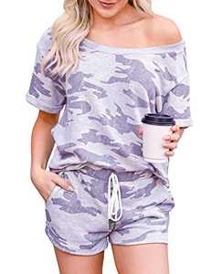 Corfrute Womens Pajama Sets Short Sleeve Tops and Shorts Tie Dye Printed Sleepwear Loungewear Nightwear(Camouflage ,L)