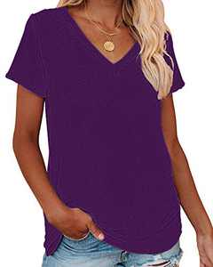 Corfrute Womens Solid Tunic Summer Short Sleeve Tops Casual V Neck Basic Tee Shirts(Purple,M)