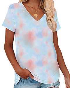 Corfrute Womens Tie Dye Tunic Summer Short Sleeve Tops Casual V Neck Basic Tee Shirts(F-38,XL)