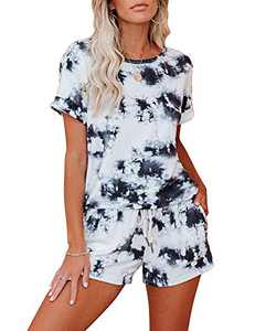Corfrute Womens Pajama Sets Short Sleeve Tops and Shorts Tie Dye Printed Sleepwear Loungewear Nightwear(Black ,XL)