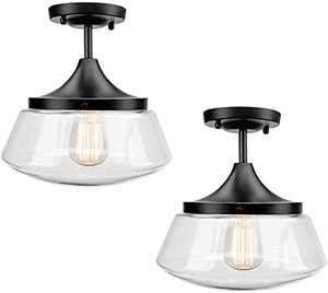 Ceiling Light Fixture 2 Pack 2 Bulb Flush Mount Light Glass Light Fixtures Ceiling Glass Flush Mount Ceiling Light for Dining Room, Glass Kitchen Light for Indoor Outdoor Use