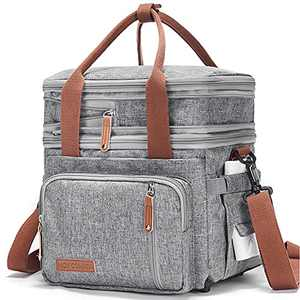 Movcompra Expandable Insulated Lunch Bag, Large Lunch Bags for Women Men, Reusable Lunch Bag with Adjustable Shoulder Strap for Work Picnic, Water Resistant Lunch Box Grey