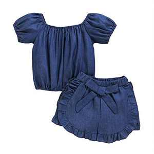 Gifunes 3PCS Toddler Girl Outfits Ruffle Sleeve Romper Top + Floral Short Pants + Floral Headband Baby Summer Clothes Set (Swallow, 2-3T)