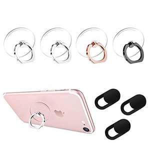 Transparent Cell Phone Ring Holder 360°Rotation Finger Ring Stand & Ultra Thin Slide Laptop Webcam Camera Covers Compatible Most of Smartphones, Computer, Protect Your Privacy and Security
