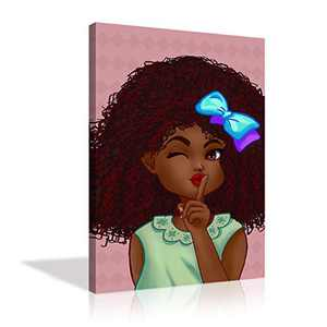 Cute African Girl Wall Art African American Paintings Canvas Prints Pink Background Black Girl Wall Decor for Bedroom Living Room Framed Ready to Hang - 24''x36''