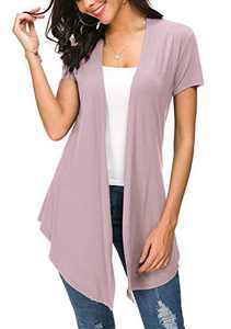 Womens Solid Open Front Short Sleeve Cardigan (XXL, Lavender)