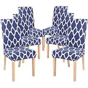 NIBESSER Chair Covers for Dining Room Chair Covers Dining Chair Slipcovers Stretch Removable Parsons Kitchen Chair Covers Protector Seat Covers for Dining Room (Navy Blue Geometric B, Set of 6)