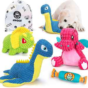 AWOOF 4pcs Squeaky Plush Dog Toys, Cute Stuffed Animal Puppy Toys with Squeakers & Organize Bag, Chewers for Small Medium Large Dogs