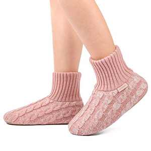 LongBay Women's Comfy Knit Slipper Socks Ultra Warm Lining with Anti-Skid Sole (6-8, Pink)