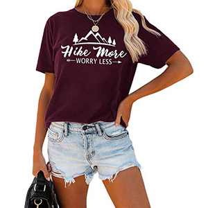SRHJOPNFR Womens Teen Girls Hike More T Shirt Funny Graphic Casual Loose Tee Tops Shirts Wine Red