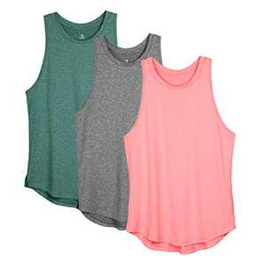 icyzone Women's Racerback Workout Tank Tops - Athletic Yoga Tops, Running Exercise Gym Shirts (Pack of 3) (Small, Charcoal/Jade/Hot Pink)