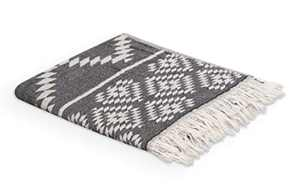 Valorosa 2-Pack Turkish Hand Towels 23x39 inches 100% Cotton Double Weave Aztec Design - Decorative Peshtemal Towel for Hand, Face, Hair, Gym, Yoga, Tea, Guest, Travel, Kitchen, and Bath (Black)