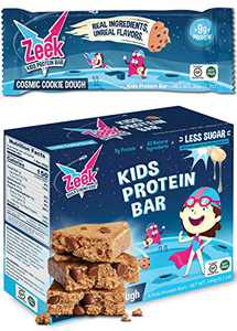 Zeek Kids Protein Bars   30% Less Sugar, 9g of Protein, All Natural Kids Snack   Nutrition Snack Bars for Active Kids & Sports   Gluten Free Snack   Cosmic Cookie Dough, 4 Count
