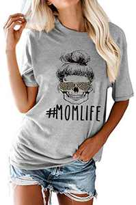Women Mama Life Letter Print O-Neck T-Shirt A Girl Face Graphic Tees Summer Causal Blouses Tops Gray