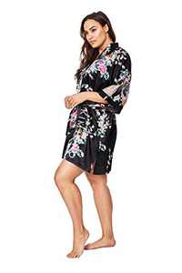 KIM+ONO Plus Size Women's Satin Kimono Robe Short - Floral - Peacock & Blossoms - Black