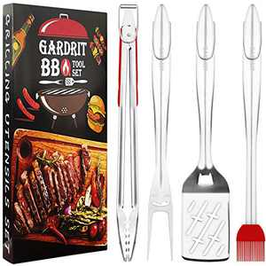 "GARDRIT 18"" Heavy Duty BBQ Grill Tools Set. Smiley-Design Stainless Steel Grilling Utensils Set - Spatula, Fork, Locking Tongs & Basting Brush. Extra Thick Grill Tools with Gift Box Package"