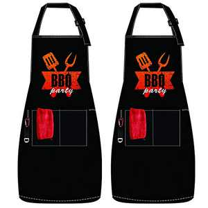 UPTRONIC 2 Pack Adjustable Bib Aprons, Waterdrop Oil Stain Resistant Apron with 2 Pockets, 2 Towel and 2 Bottle Opener Chef Apron Cooking Kitchen Grilling Aprons for Women Men (Black)
