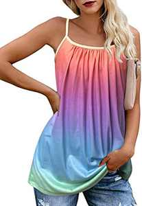 Tie Dye Tank Tops for Women Loose Plus Size Cami Spaghetti Strap Tunic Blouses(Rainbow,S)