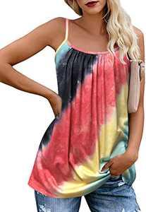 JOELLYUS Plus Size Womens Tie Dye Tank Tops Loose Plus Size Cami Spaghetti Strap Tunic Blouses(Starry Sky red,S)