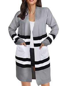 Cogild Women Striped Open Front Color Block Long Sleeve Knit Cardigan Sweater Outwear with Pocket