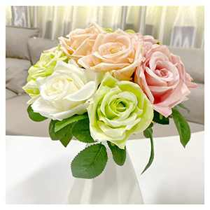 2 Packs Artificial Rose Flowers Bouquet 18 Heads Fake Flowers Silk Flowers Rose for Valentine's Day Decorations Mother's Day Birthday,Christmas, (Champagne Pink and Green White )