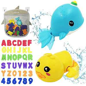 BITHAI 41PCS Bath Toys Organizer Set, 2 Wind Up Bath Toys & 36 Soft Foam Letter Numbers & 2 Strong Self-Adhesive Hook & 1 Shark Mesh Bag - Shower Games for Toddlers Baby Kids Learning Bathtub Time